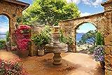 Brunnen Toskana Natur Paradies XXL Wandbild Kunstdruck Foto