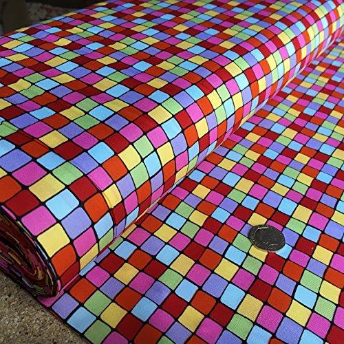 Multi Farbe Überprüfen Print Premium Qualität 100% Baumwolle Stoff Material Breite 147,3cm Meterware für Bastelarbeiten, Patchwork, Quilten, Nähen, Schneidern