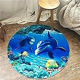 D&F Alfombras Redondas de Dibujos Animados Salón Dormitorio Alfombras Antideslizantes, Alfombra Infantil /3D Mundo Submarino, 120 * 120cm