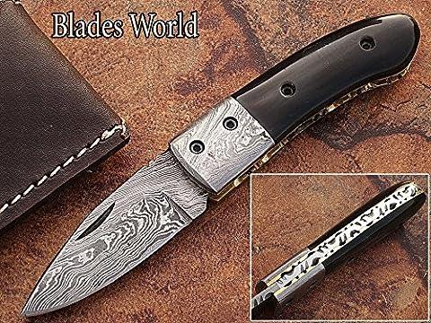 Custom Made Damaskus 16,3cm Taschenmesser mit Buffalo Horn Griff und zusammenklappbar Damaskus Nackenrolle, Fine Art Datei, Klinge unter 7,6cm (bdm-810)