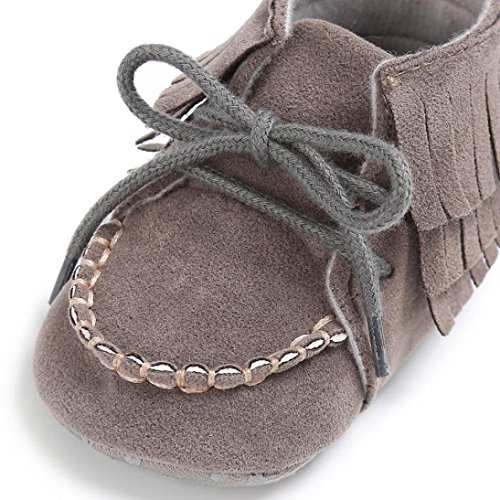 BZLine® Baby Quaste Soft Sole shoes Boys Girls Anti-Slip Kleinkind Krippe Sneakers Grau