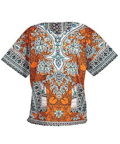 Lofbaz - Unisex Dashiki - Traditionelles Oberteil mit afrikanischem Druck Ethnic Orange