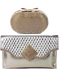Kleio Combo Of Designer Party Oval Shaped Clutch With Sling & Clutch