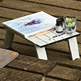 Foldable Aluminium Table 2 selectable Height 11/16cm Side table light+durable Aluminium construction compact+stable small Packmaß Uquip Mobile phone 244110
