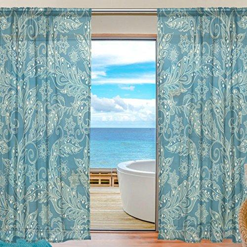 yibaihe Fenster Vorhänge, Gardinen Seitenteilen Blumenmuster in asiatischen Stil Fenster Behandlung Set Voile Drapes Tüll Vorhänge 198,1cm lang für Wohnzimmer Schlafzimmer Girl 's Room 2Platten
