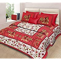Fecom Rajasthani Jaipuri Traditional Sanganeri Design Cotton Double Bedsheet, Bedspread, Cover with Pillow Covers , King Size,108X108 Inches ,Red