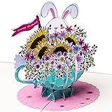 3D Geburtstagskarte - Häschen mit Blumenstrauß