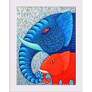 AZ Red & Blue Elephant Canvas Painting White Frame 7 x 8.6inch