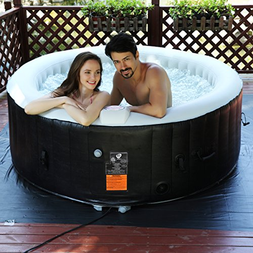 COSTWAY Whirlpool Massage Spa Pool √aufblasbar √Heizfunktion √4 Personen √in-Outdoor √Komplettset√Ø180cm√Rund