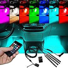 BRTLX Interior de la iluminación del coche Atmósfera Decorativo RGB LED Kit de luz de tira 12V 4 x 12 LED con función activa de sonido Universal Fitment