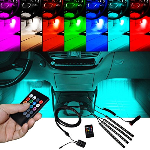 BRTLX Car Interior Lighting Atmosphere Kit decorativo LED RGB per illuminazione a strisce 12V 4 x 12 LED con Sound Active Function Universal Fitment