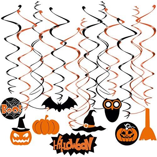 Tinksky Halloween-hängende Strudel-Schwindel-Dangler-Folie-hängende Dekoration für Halloween-Partei (20pcs Strudel, der mit Anhänger + 10pcs Kreuz-Strudel (Bilder Kostüme Von In Katzen Halloween)