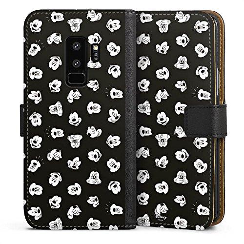 mpatibel mit Samsung Galaxy S9 Plus Leder Flip Case Ledertasche Micky Maus Mickey Mouse Gesichter ()