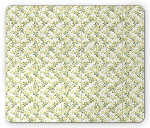 Floral Mouse Pad, Springtime Nature Illustration in Vintage Style Blossoming Botanical Garden, Standard Size Rectangle Non-Slip Rubber Mousepad, Sage Green Eggshell 9.8 X 11.8 inch Combo Green Compact