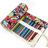 Caja de Lápiz - Feelme Papelería Bolsa Lápices de Colores en Estuche Enrollable de Lona 48 para Estudiantes Niño Niñas (Lápices no incluidos) (Colour 12)
