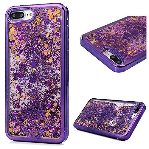 """MAXFE.CO TPU Silikon Hülle für iPhone 7 Plus 5.5"""" Handyhülle Schale Etui Protective Case Cover Rück mit Blumen Skin TPU Kantenschutz Treibsand Design Schutzhülle Blumen"""