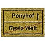 Relaxdays Fußmatte Kokos Motiv PONYHOF 40 x 60 cm Kokosmatte mit rutschfester PVC Unterlage Fußabtreter aus Kokosfaser als Schmutzfangmatte und Sauberlaufmatte Fußabstreifer für Außen und Innen, braun