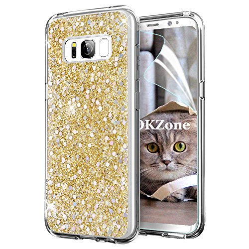 OKZone Galaxy S8 Case + HD Screen Protector, Luxury Bling Glitter Sparkle Designer Slim Fit Soft Gel TPU Silicone Skin Cover Shining Style Case for Samsung Galaxy S8 (Gold)