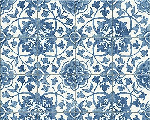 #A.S. Création Tapete Faro in Fliesen Optik 10,05 m x 0,53 m blau weiß Made in Germany 962471 96247-1#