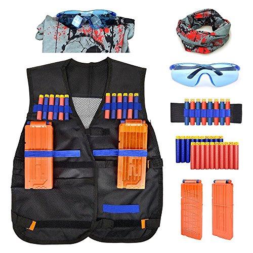 Weste für Nerf, Honkid Kinder Taktische Weste Jacken Kit Sets für Nerf Spielzeug Pistole N-Strike Elite Serie( Gesichtsmaske + Schützende Schutzbrillen +10pcs Schaum-Dart + 2pcs Schnellen Wiederaufladeclip)