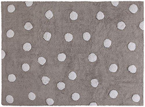 Lorena Canals c-00005Lunares Blanco Lavable a Rugs–Alfombra, Color Gris, 4'x 5'