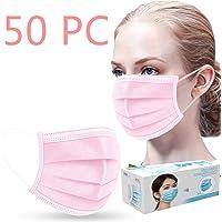 50 Pcs Jetable 3 Couches Couvercle de Protection (25pc Bleu+25pc Noir) Respirant Cache Visage Bouche Nez Facial Adulte…