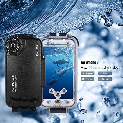 TOPTOO Custodia protettiva impermeabile per smartphone Custodia subacquea per smartphone subacquea 40M / 130ft per iPhone 8