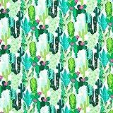 Fabulous Fabrics Cretonne Kaktus – mintgrün — Meterware ab 0,5m — Oeko-Tex Standard 100 — zum Nähen von Outdoor-Deko, Kissen und Tagesdecken und Taschen