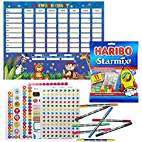 Ladybirds Boys Childrens Star Reward Chart for Chores & Good Behaviour with 11 Packs Haribos Star Mix Sweets, 8 Double Sided Felt Pens, Over 1000 Reward Stickers - Children Potty Training.