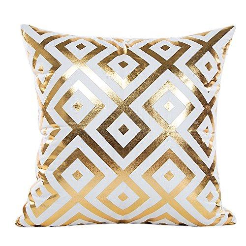 SHOBDW Kissen Dekorative Home Decor Sofa Taille Wurf Kissenbezug Case Set Dekokissen Deckt Geometrische Muster 45cmX45cm Goldfolie Drucken Künstliche Wollmantel mit Streifen Kissenbezüge - Bettwäsche-sofa-stuhl