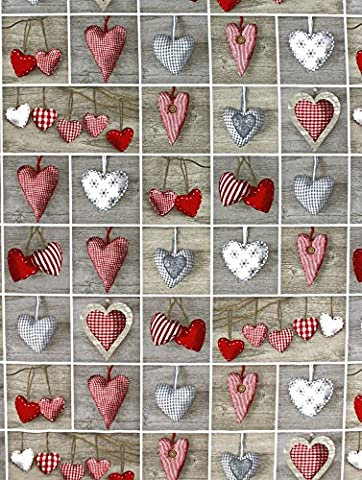 HEARTS - CHRISTMAS Designer Curtain Upholstery cotton fabric material - 140cm wide - hearts Christmas Canvas (sold by the metre)
