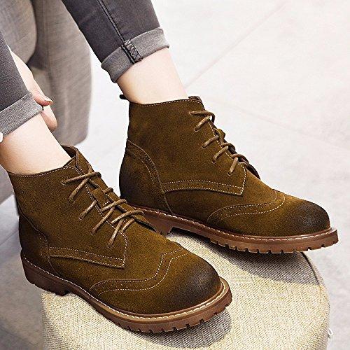 HSXZ Scarpe donna Vacchetta Autunno Inverno Comfort stivali tacco basso Round Toe stivaletti/stivaletti di abbigliamento casual Kaki Nero Grigio Gray
