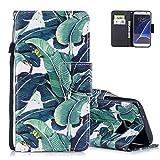 Aeeque Bumper Samsung S7 Protection Cover avec Motif Feuilles Vert Folio Housse de...