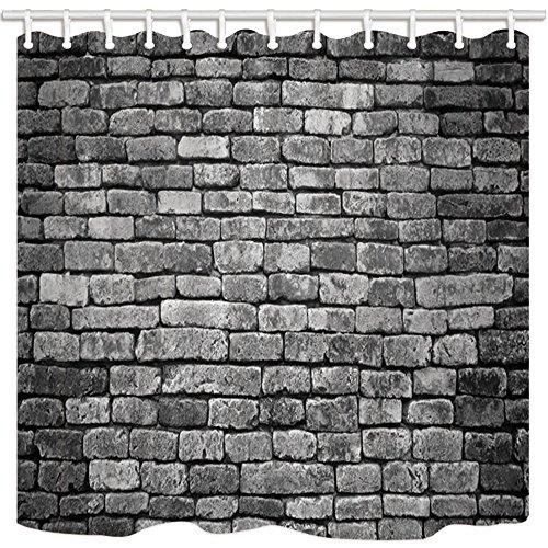 hang für die Dusche von, Grau Vintage Farbe Polyester-Brick Wand,-Bad Vorhänge Set mit Haken 69W x 70l Zoll ()