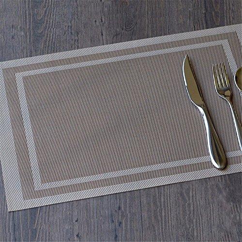 XXSZKAA Table Européenne Matelas Étanche Table Coussin Plaque De Cuisine Garniture De Table Coussin De Cuvette en PVC Mat, Couleur Champagne 4 Pièces, 45 * 30 Cm