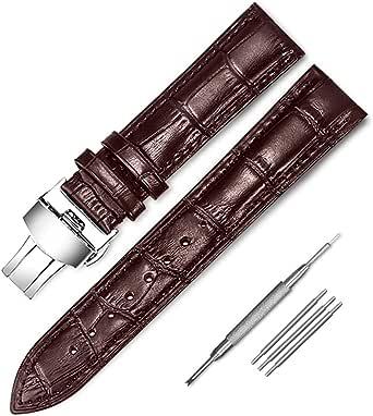 Coholl Cinturino per Orologio,Cinturini in Pelle con fibbia a farfalla,Watch Straps per Uomo e Donna da 14 mm,16 mm,18 mm,19 mm,20 mm,21mm,22 mm,24 mm