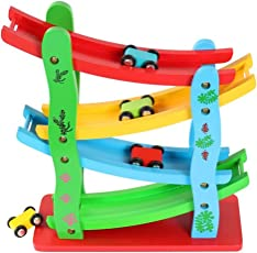 Toyshine Wooden Ramp Race Track Car Set Toy, Assorted Design