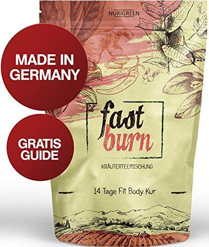 Nurigreen Fast Burn Detox Tee Kur- 100% Kräuterteemischung - Grüner Tee, Mateblätter grün, Zitronenverbenenblätter, Rooibostee, Hibiskusblüten, Hagebuttenschalen, Ingwer & Chillies
