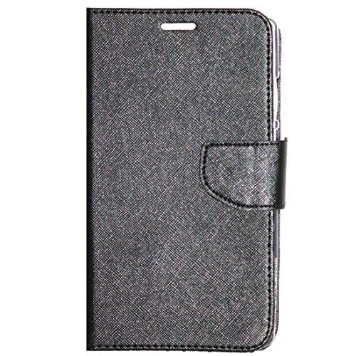 Zaoma Diary Wallet Type Flip Cover for Micromax Canvas Mega 2 Q426 Q426+ - Black