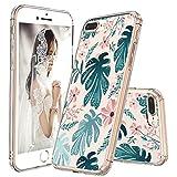 MOSNOVO iPhone 8 Plus Hülle, iPhone 7 Plus Hülle, Tropisch Palmblatt Muster TPU Bumper mit Hart Plastik Hülle Durchsichtig Schutzhülle Transparent für iPhone 7 Plus/iPhone 8 Plus (Palm)
