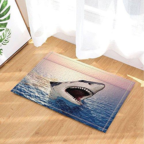 gohebe Ocean Sealife Decor Shark Big Mund auf bei Sonnenaufgang, Bad Teppiche rutschhemmend Fußmatte Boden Eingänge Innen vorne Fußmatte Kinder Badematte 39,9x 59,9cm Badezimmer - Fleece-stoff Ocean
