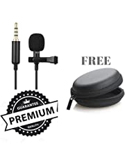 King Shine Lavalier Lapel Coller Microphone Kit with Voice Recording Filter Mic for Recording Singing Youtube on Smartphones (Black)