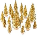 60 Pezzi Mini Albero di Natale Artificiale Natale Sisal Neve Alberi Bottiglia Pennello Alberi Pino Ornamenti con Base in Legno per Natale Festa Casa Decorazione (Oro, 5 Taglie)