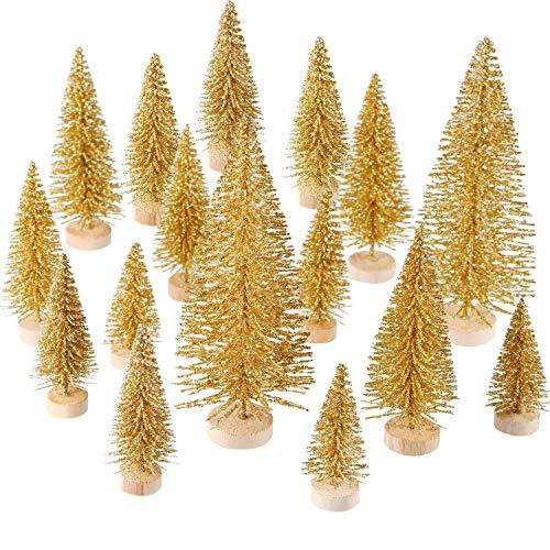 102e088c54 60 Pezzi Mini Albero di Natale Artificiale Natale Sisal Neve Alberi  Bottiglia Pennello Alberi Pino Ornamenti