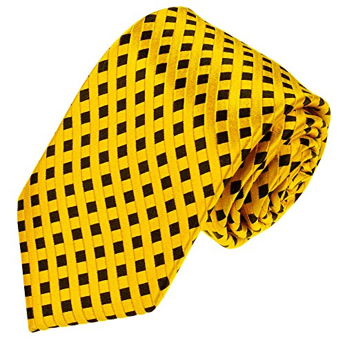 Lorenzo Cana hochwertige Designer Krawatte aus 100% Seide Markenkrawatte Luxuskrawatte Karos Check Gelb Schwarz gewebt 84583