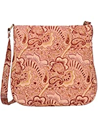 Kalamargam Collective Kalamkari & Vegan Leather Sling Bag (Multi-Coloured, KC-SB66)
