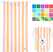 Dock & Bay Sand Proof Beach Towels Portable - Extra Large XL 200x90cm, Large 160x80cm - mint green striped design travel towe