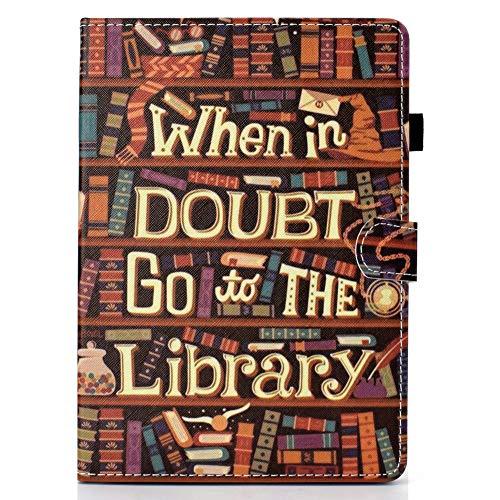 Coopay für iPad Air 1 iPad 5 Brieftasche Schutzhülle,Ultradünne Bookcase Tasche,Full Body Stoßfest Lederhülle,Flip Ständer Kartenfächer mit Magnetverschluss Ledertasche,Muster Vintage Bücherregal -