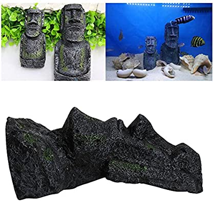 Dairyshop Easter Island Big Statue Aquarium Ornament Fish Tank Rock With Face Heads Decor 2017 2