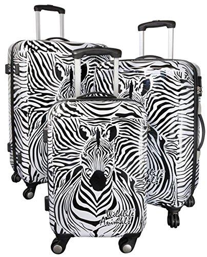 35511 Kofferset Gepäckset Polycarbonat ABS Hartschalen Koffer 3tlg. Set Trolley Reisekoffer Reisetrolley Handgepäck Boardcase Graphic Zebra